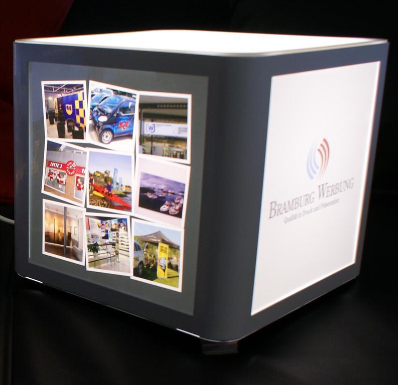 cube leuchtw rfel auf st nder wei mit 4 drucken ebay. Black Bedroom Furniture Sets. Home Design Ideas